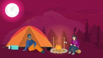 banner voor het ontwerp van de zomer kamperen in de natuur een jongen en een meisje zitten 's nachts naast een kampvuur in de buurt van een toeristische tent platte vectorillustratie vector
