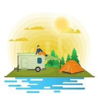 zonnige dag landschap achtergrond voor zomerkamp natuur toerisme kamperen of wandelen web ontwerp concept man zittend op het dak van een aanhangwagen camper platte vectorillustratie vector
