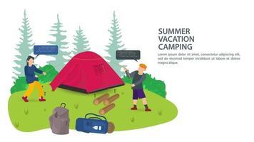 banner voor het ontwerp van de zomercamping twee mensen toeristen zetten een tent op voor de nacht in de platte vectorillustratie van de natuur vector