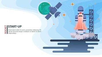 bannersatelliet in de ruimte op de achtergrond van planeten die de lancering van het opstarten van de spaceshuttle-raket voor web- en mobiele sites bekijken, ontwerpen vlakke vectorillustratie vector