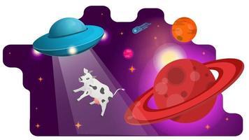 ufo vliegende schotel vliegen met een gestolen koe in de ruimte langs een planeet met ringen ontwerpconcept platte vectorillustratie vector