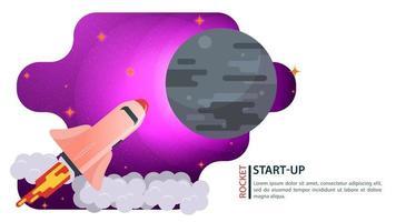 banner spaceshuttle-schip dat in de ruimte vliegt naar een grote grijze planeet voor web- en mobiele sites ontwerp platte vectorillustratie vector