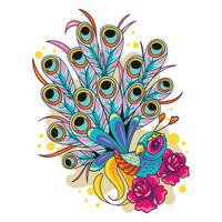 Illustratie van Peacock New Skool Tattoo Art Design vector