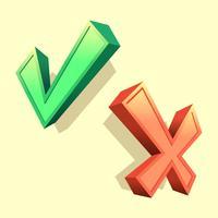 3D vervorming juiste en verkeerde symbool Vector