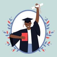 gelukkige Afro-Amerikaanse afgestudeerde van een onderwijsinstelling vector