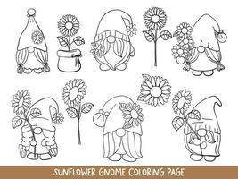 zonnebloem kabouters doodle, zonnebloem kabouter kleurplaat. vector