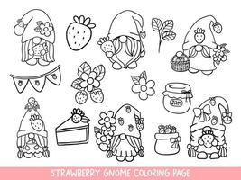 aardbeikabouters doodle, aardbeikabouter kleurplaat. vector