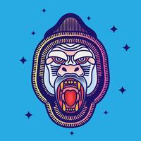 Retro Hipster Kingkong hoofd oude school tatoeage illustratie