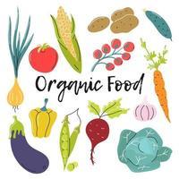 biologisch voedsel. heldere groenten op een witte achtergrond. vector platte afbeelding
