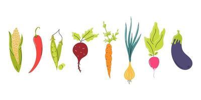set van verse groenten gerangschikt in een rij op een witte achtergrond. natuurlijk voedsel, vegetarisme. vector platte afbeelding, pictogram