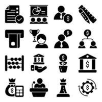 pakket met zakelijke en e-commerce glyph-pictogrammen vector