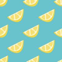 schijfjes citroen op een groene achtergrond. vector naadloze patroon in vlakke stijl