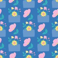 envelop met bloemen op een blauwe achtergrond. vector naadloze patroon in vlakke stijl