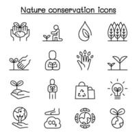 milieuvriendelijk, natuurbehoud, milieuactivist pictogrammenset in dunne lijnstijl