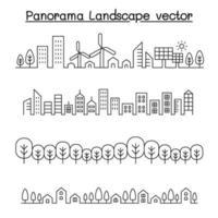 dunne lijnstijl stadspanorama. stedelijk landschap vector illustratie grafisch ontwerp