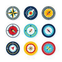 platte kompas icoon collectie vector