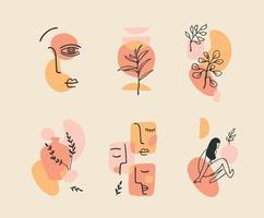 set van hedendaagse composities. lijn kunst. modern vectorontwerp voor logo, huisstijl, t-shirt, posters, kaarten en meer