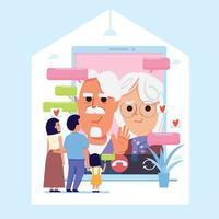 familie praat met oude ouders via videogesprek - vectorillustratie