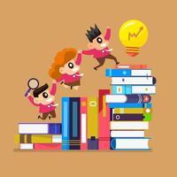 illustraties concept onderwijs met boeken