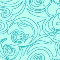 naadloze turquoise textuur van spiralen en krullen in een lineaire stijl.