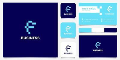 eenvoudig en minimalistisch blauw pixel letter f-logo met sjabloon voor visitekaartjes