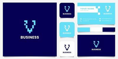 eenvoudig en minimalistisch blauw pixel letter v-logo met sjabloon voor visitekaartjes