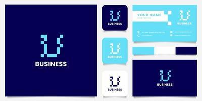 eenvoudig en minimalistisch blauw pixel letter u-logo met sjabloon voor visitekaartjes
