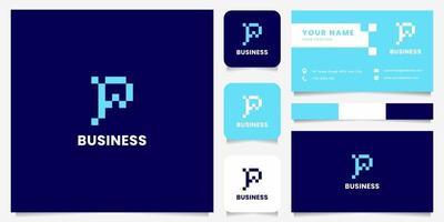 eenvoudig en minimalistisch blauw pixel letter p-logo met sjabloon voor visitekaartjes