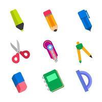 school stationaire icoon collectie vector
