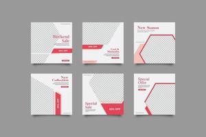 roze vrouw geometrische abstracte instagram post sjablonen set vector