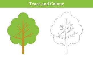 trace en kleur boom