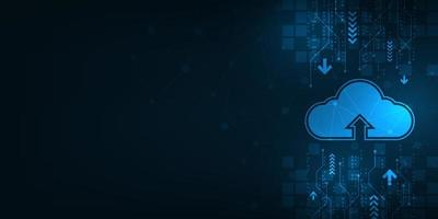 cloud-interface die het uploaden van gegevens naar internet laat zien.
