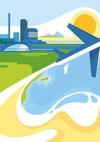 poster sjabloon met stad, kust en vliegtuig.