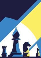 poster sjabloon met verschillende schaakstukken.