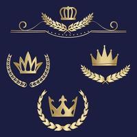 set luxe gouden etiketten, embleem, medailles, bord met lauwerkrans, kroon voor retro-ontwerp van diploma, onderscheiding, logo, pictogram. vector