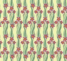 naadloze bloemmotief met bladeren en bloemen. artistieke getrokken bloemenachtergrond in stijl retro decor. bloeien siertuin textuur met bladeren vector