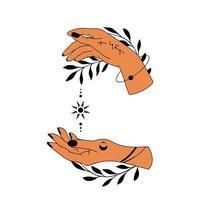 verzameling hand getrokken magische astrologische hand symbolen vector