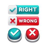 Juiste en verkeerde 3D-knop vector