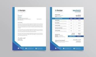 corporate branding identiteit of briefpapier briefpapier en factuursjabloon vector