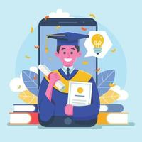online diploma-uitreiking in mobiele telefoon vector