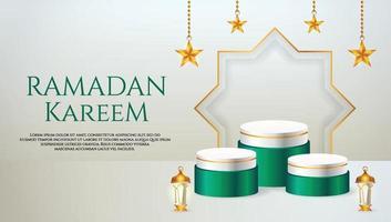 3d-productvertoning groen en wit islamitisch podiumthema met lantaarn en ster voor ramadan vector