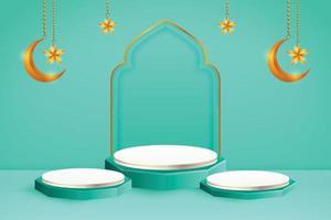 3d-productvertoning blauw en wit islamitisch podiumthema met wassende maan en ster voor ramadan vector