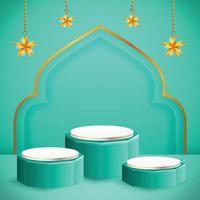 3d-productvertoning blauw en wit islamitisch podiumthema met ster voor ramadan vector