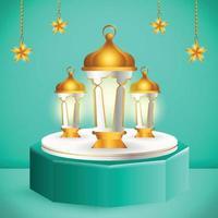 3d-productvertoning blauw en wit islamitisch podiumthema met lantaarn en ster voor ramadan vector