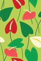 naadloos patroonbehang van flamingobloemen en bladeren voor tropische installatieachtergrond. vector