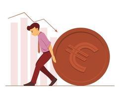 werknemer man duwt een grote munt van euromunt en staafdiagrammen op de achtergrond. vector