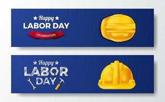 gelukkige dag van de arbeid. internationale werkdag. werknemer ingenieur met 3d gele veiligheidshelm met blauwe achtergrond. sjabloon voor spandoek folder vector