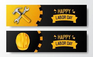 gelukkige dag van de arbeid. internationale werkdag. werknemer ingenieur met 3d gele veiligheidshelm en hamer, moersleutel, met zwarte achtergrond. sjabloon voor spandoek folder vector