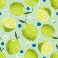 zomer naadloze patroon met limoen en bloesem. zoete achtergrond vector
