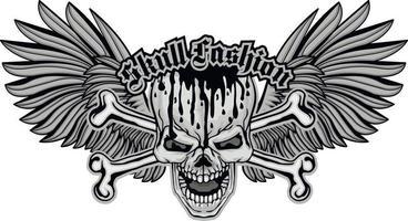 gotisch bord met schedel en vleugels, grunge vintage ontwerpt-shirts vector